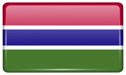 Flags Gambia in the form of a magnet on refrigerator with reflections light. Vector