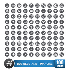 Set of 100 icons business and financial on grey circle backgroun