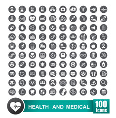 Set of 100 icons of health and medical with circle grey backgrou