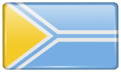 Flags Tuva in the form of a magnet on refrigerator with reflections light. Vector
