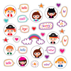 Set of stickers with girls, boys and speech bubbles. Badges for clothing. Doodles, sketch for your design. Vector.