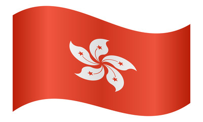 Flag of Hong Kong waving on white background