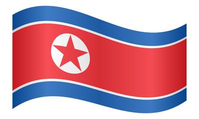 Flag of North Korea waving on white background