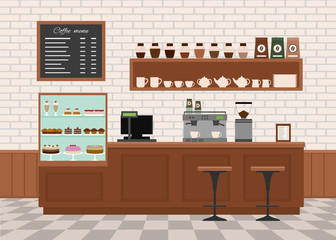Coffee shop interior . Flat design vector illustration