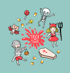 Halloween greeting card with children in costumes and stylish lettering - trick or treat. Holiday vector  background with skeleton, zombie and bat.