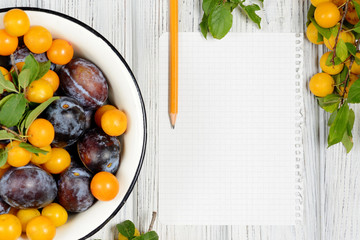 sheet of paper surrounded by fresh fruits plums and pencil on white wooden table