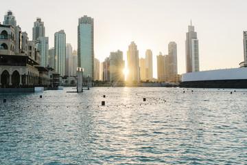 Sunset over city skyline, Dubai, United Arab Emirates