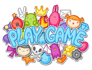 Game kawaii design. Cute gaming elements, objects and symbols