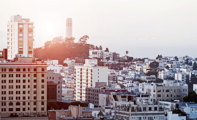 The Coit Tower in San Francisco at sunset