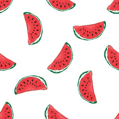 Water Melon Hand drawn Seamless Pattern Vector Illustration.