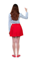 Back view of  woman.  Raised his fist up in victory sign.    Raised his fist up in victory sign.  Rear view people collection.  backside view of person.  Isolated over white background. Long-haired