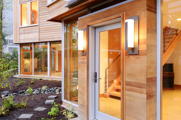 Glass windows and doors of modern house