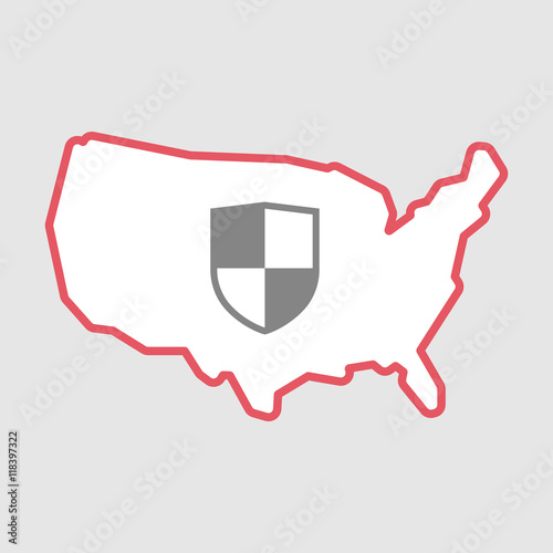 Isolated Line Art Usa Map Icon With A Shield Stock Image And