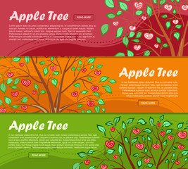 Three colorful banners with apple tree and place for your advertisement. Vector