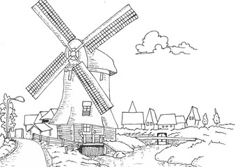 Windmill old retro vintage hand drawing illustration