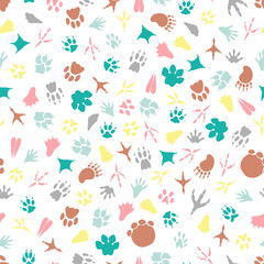 Colorful animal footprints seamless pattern. Vector illustration