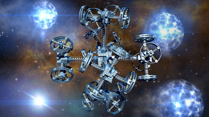 3d Illustration of an alien spaceship with multiple gravitational wheels in interstellar travel for games, futuristic deep space travel or science fiction backgrounds