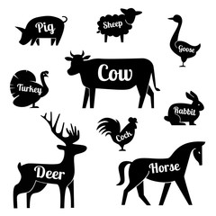 Set of butchery logotype templates. Cartoon farm animals with sample text. Retro styled toy farm animals black silhouettes collection for meat stores, groceries, packaging and advertising. Vector