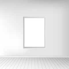 A spacious empty white room with a picture on the wall. Monochrome interior. In use for your design project. Vector illustration