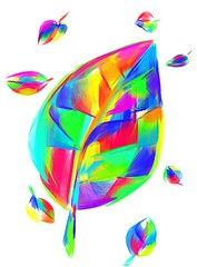 Rainbow illustration of an autumn leaf.