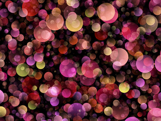 Background of red, yellow and purple colored air bubbles on black.