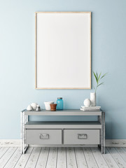 Mock up poster on table in room - 3D illustration