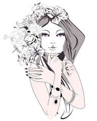 Sketch of young beautiful woman with flowers and butterflies.