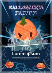 Happy Halloween Banner Pumpkin Scary Face