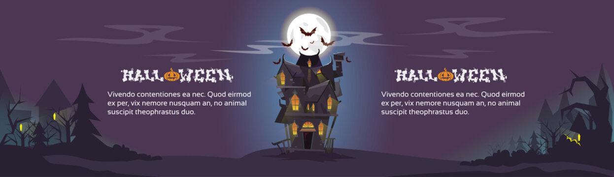 House Halloween Night Bats Flying Around