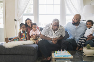 African American family celebrating birthday