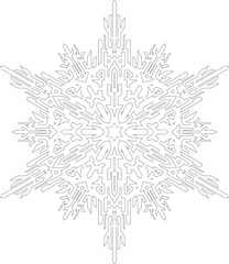 Outlines of snowflake in mono line style for coloring book. Vector geometric pattern.