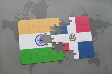puzzle with the national flag of india and dominican republic on a world map background.