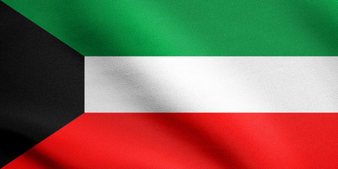 Flag of Kuwait waving with fabric texture