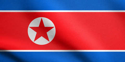 North Korean flag waving with fabric texture, DPRK