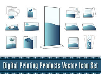 Digital Printing Products Vector Icon Set
