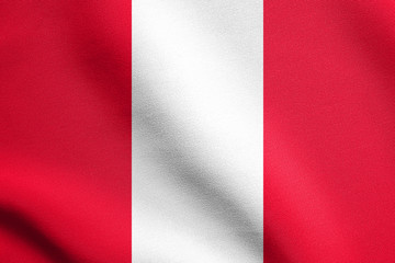 Flag of Peru waving with fabric texture