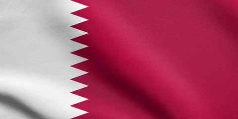 Flag of Qatar waving with fabric texture