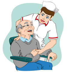 Female nurse caring for an elderly man. Ideal for material medical or institutional