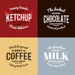 Isolated ketchup,chocolate,coffee,milk vector logo set. Retro style emblems.