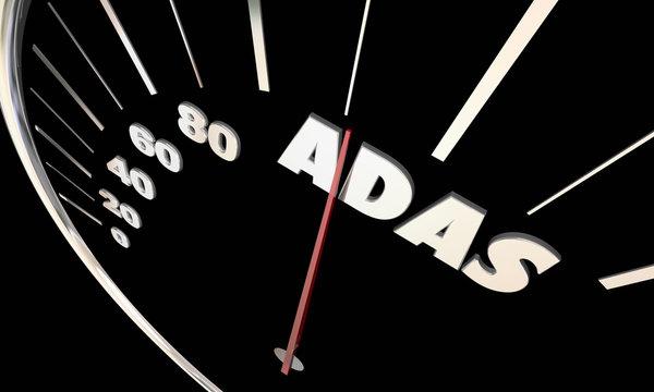 ADAS Advanced Driver Assistance Systems Speedometer 3d Illustrat