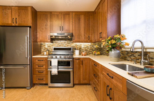 wood for kitchen cabinets what is the best quot contemporary upscale home kitchen interior with cherry 2263