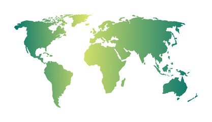Image of a vector world map green color illustrator