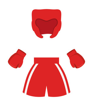glove boxer short helmet boxing sport training icon. Colorful and flat design. Vector illustration