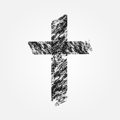 Grunge Christian cross. Isolated. Uneven brush.
