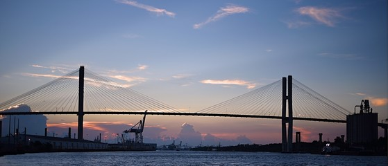 Sunset over suspension bridge in Savannah, Georgia