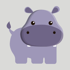 hippo animal cute little cartoon icon. Colorful and flat design. Vector illustration