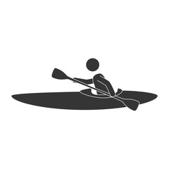 kayak extreme sport man boat action water male adventure vector illustration isolated