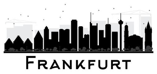 Frankfurt City skyline black and white silhouette.