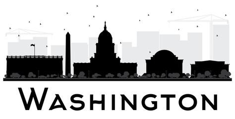Washington DC City skyline black and white silhouette.