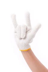 worker hand showing love gesture with glove